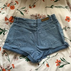 Striped cut off mom shorts
